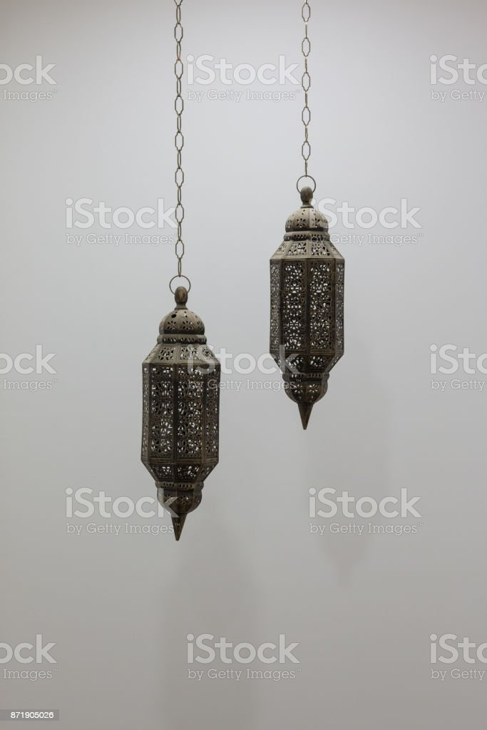 Typical Oman Sultanate's Lanterns Covered with Holes stock photo