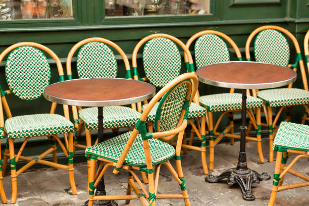 Typical outdoor cafe in Paris, in Butte Montmartre stock photo