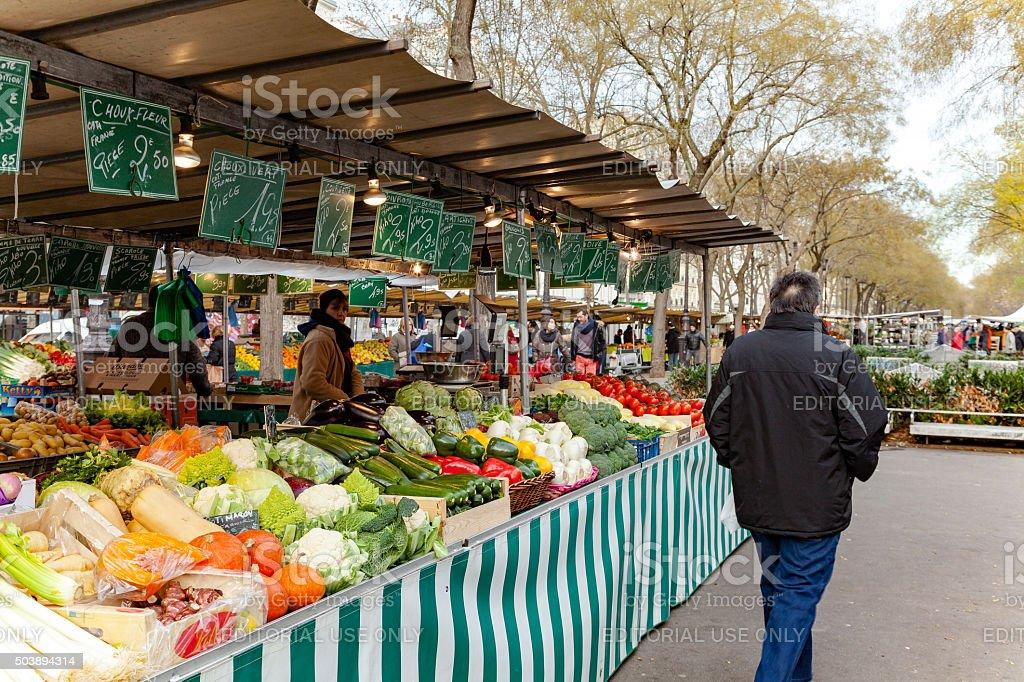 Typical outdoor market in Paris stock photo