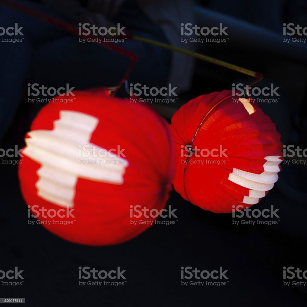 typical paper lantern on swiss national holiday at 1 august stock photo