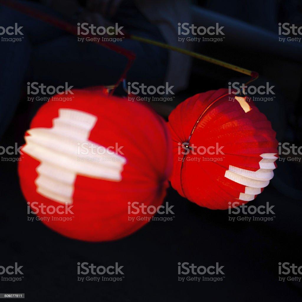 Tipica Lanterna di carta per la festa nazionale svizzero a 1 agosto - foto stock