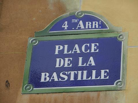 Typical paris street sign Place de la Bastille