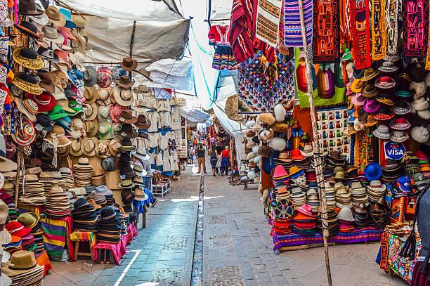 Typical Peruvian Street Market stock photo