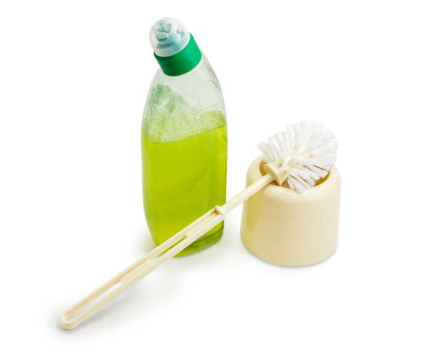 Typical plastic toilet brush and toilet cleaner stock photo