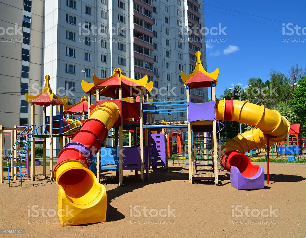 Typical playing complex for children in Moscow, Russia stock photo