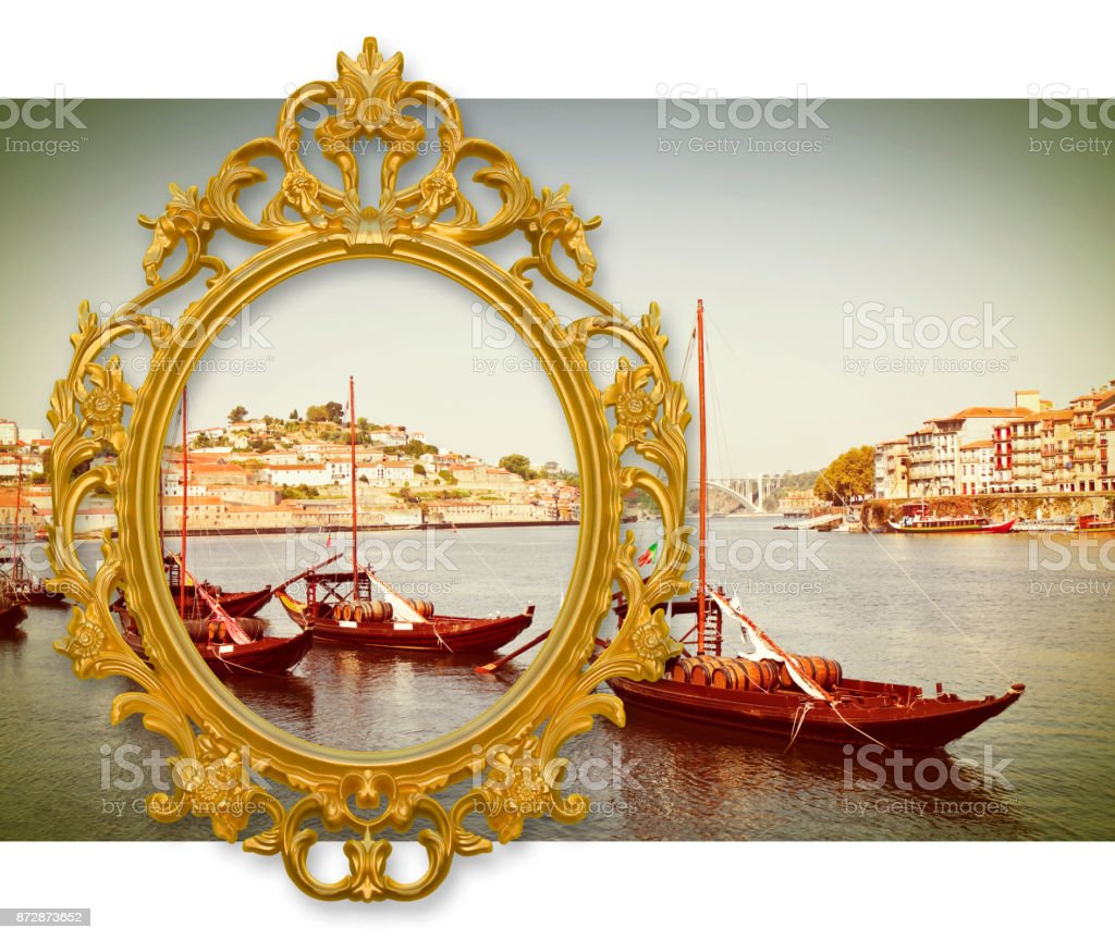 Typical portuguese boats used in the past to transport the famous port wine (Portugal - Europe) - concept image with a classic golden frame stock photo