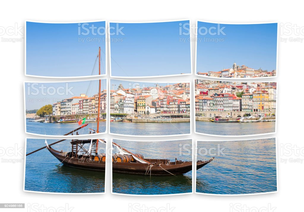 Typical portuguese boats used in the past to transport the famous port wine stock photo
