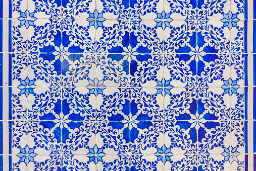 Typical Portuguese old ceramic wall tiles (Azulejos)