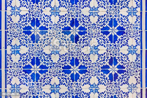 istock Typical Portuguese old ceramic wall tiles (Azulejos) 664848674