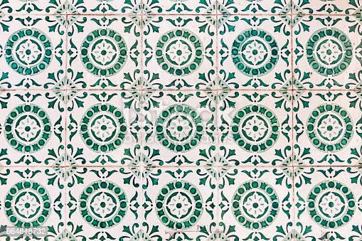 istock Typical Portuguese old ceramic wall tiles (Azulejos) 664848732