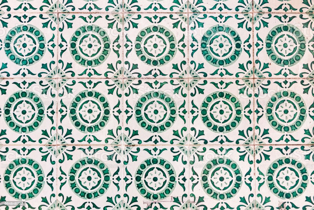 Typical Portuguese old ceramic wall tiles (Azulejos) stock photo