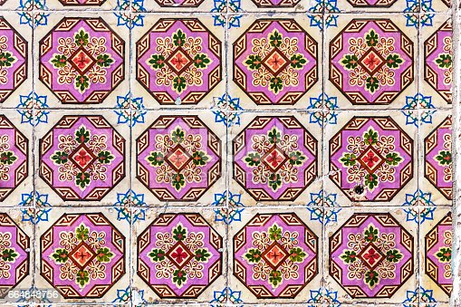 istock Typical Portuguese old ceramic wall tiles (Azulejos) 664848756