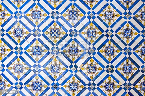 istock Typical Portuguese old ceramic wall tiles (Azulejos) 664848830