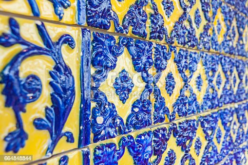 istock Typical Portuguese old ceramic wall tiles (Azulejos) 664848844