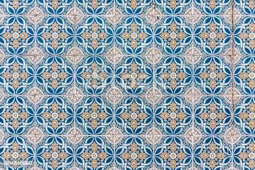 istock Typical Portuguese old ceramic wall tiles (Azulejos) 664848860