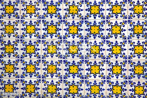 istock Typical Portuguese old ceramic wall tiles (Azulejos) 670531652