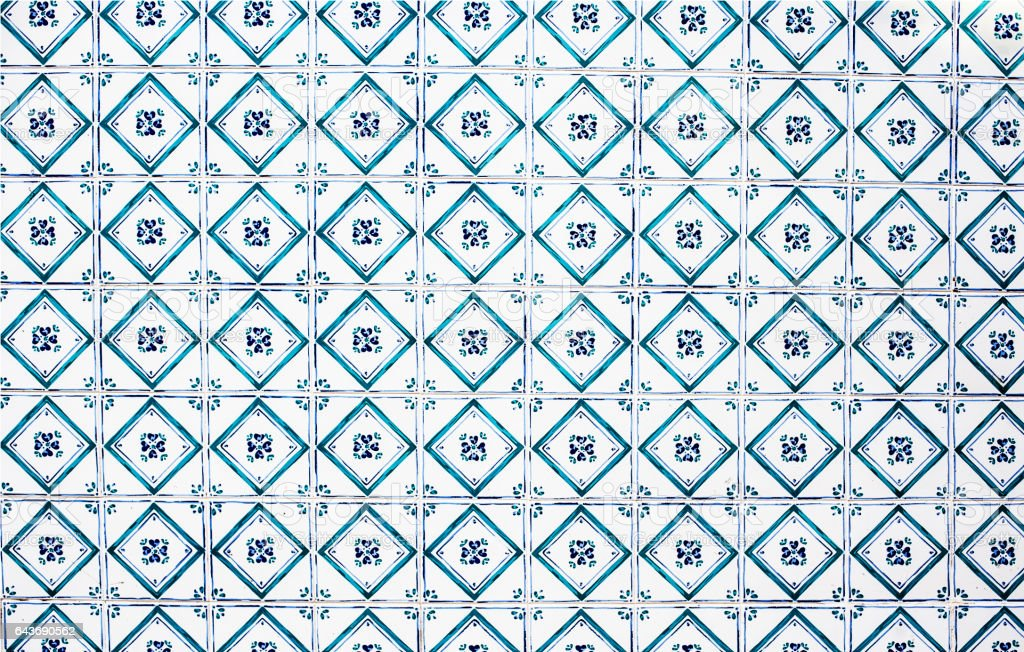 Typical portuguese tiles Abstract colorful wall background stock photo