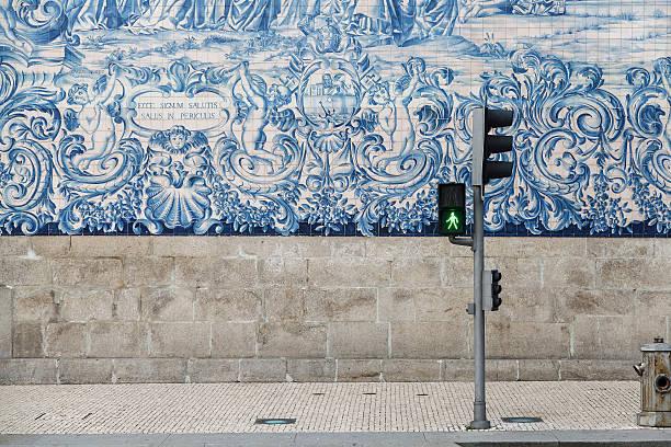 Typical Portuguese Tile-Work Lateral facade of Animas Chapel animas river stock pictures, royalty-free photos & images