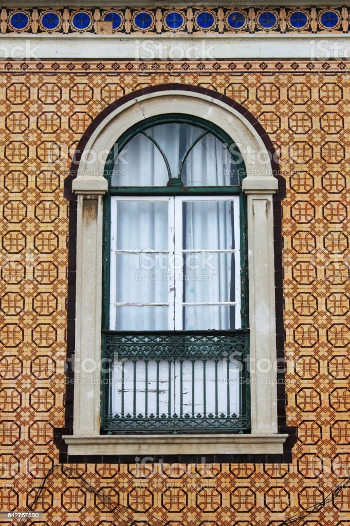 Typical portuguese window stock photo