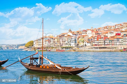 Typical portuguese wooden boats, called -barcos rabelos- used in the past to transport the famous port wine towards the cellars of the city (Portugal - Europe)