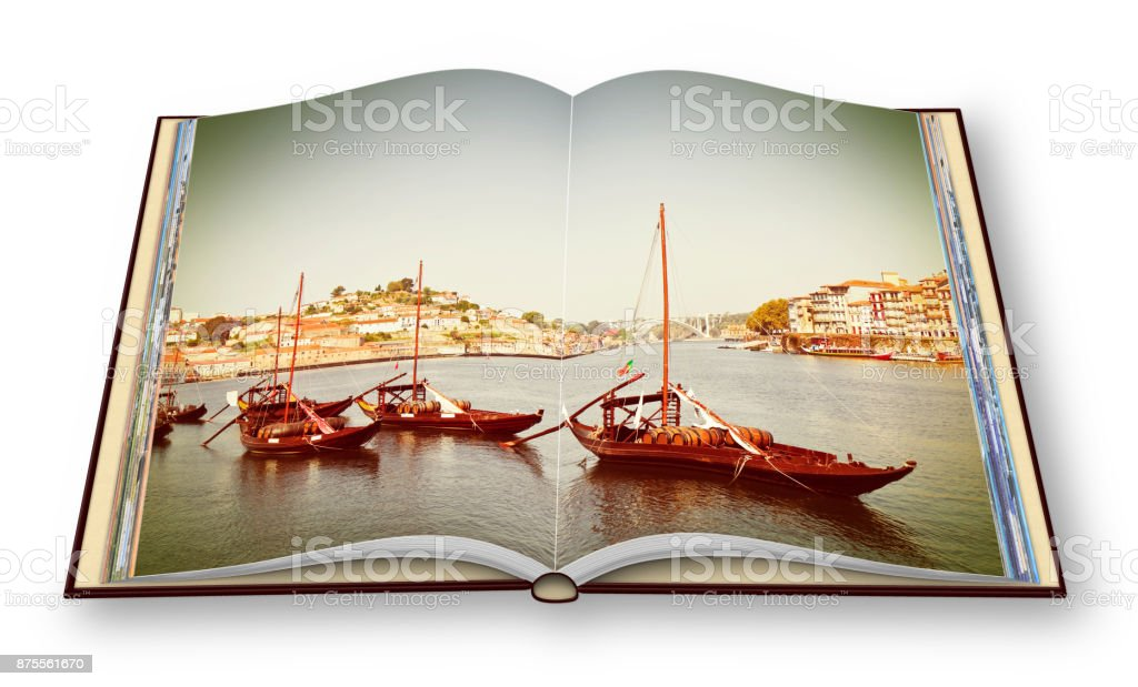 Typical portuguese wooden boats, in portuguese called 'barcos rabelos', used in the past to transport the famous port wine (Portugal) -I'm the copyright owner of the images used in this 3D render. stock photo