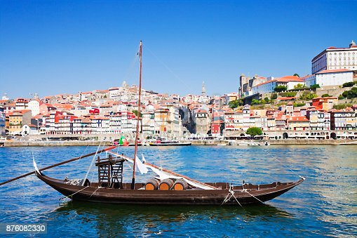Typical portuguese wooden boats, in portuguese called