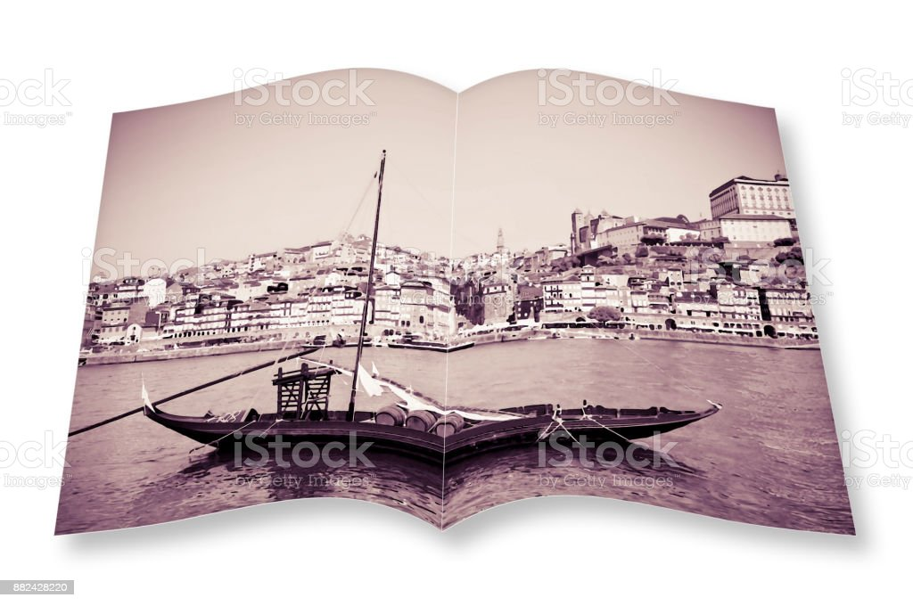 Typical portuguese wooden boats, in portuguese called 'barcos rabelos', used in the past to transport the famous port wine (Portugal) - watercolor concept effect - I'm the copyright owner of the images used in this 3D render. stock photo