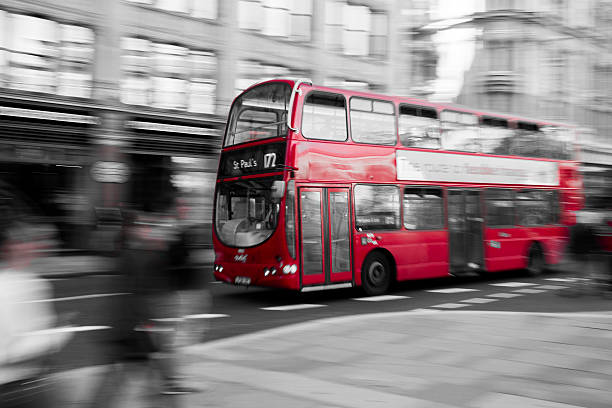 Typical red double decker bus in London - Selective Colour stock photo