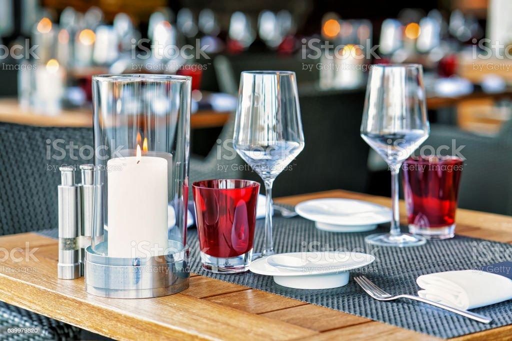 Typical restaurant terrace in Switzerland stock photo