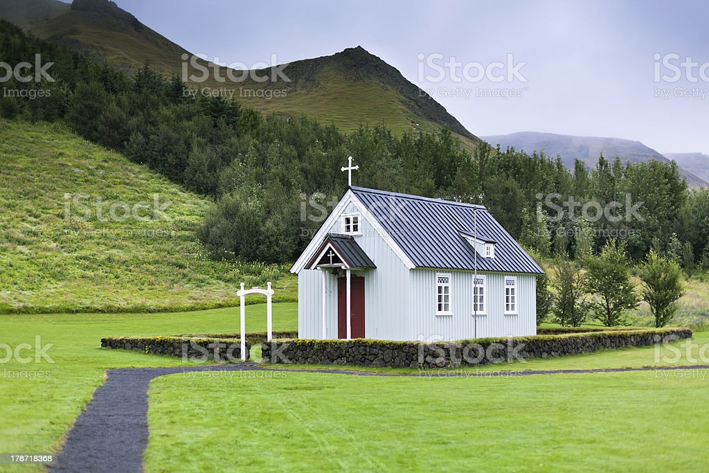 Typical Rural Icelandic Church at Overcast Day royalty-free stock photo