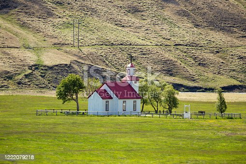 istock Typical Rural Icelandic Church at Sea Coastline. 1222079218