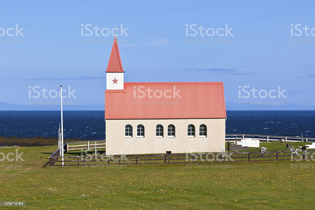 Typical Rural Icelandic Church at Sea Coastline royalty-free stock photo