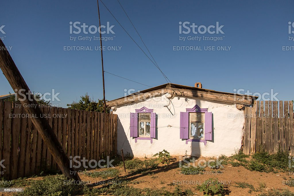 Typical Russian brick country house. stock photo