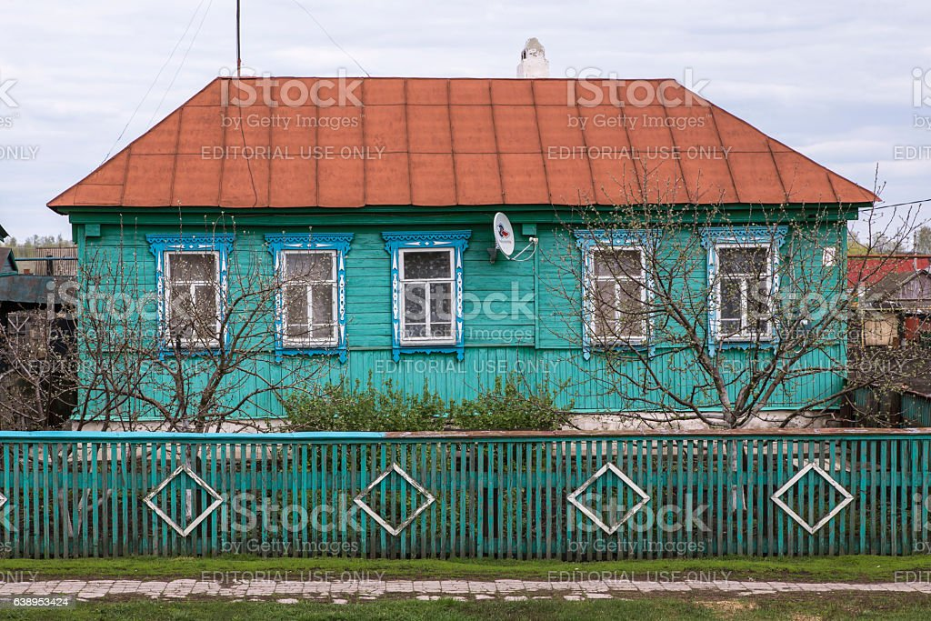 Typical Russian wooden country house. stock photo
