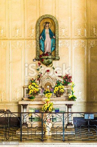 A view of a statue inside cathedral Metropolitina in San Salvador, El Salvador.