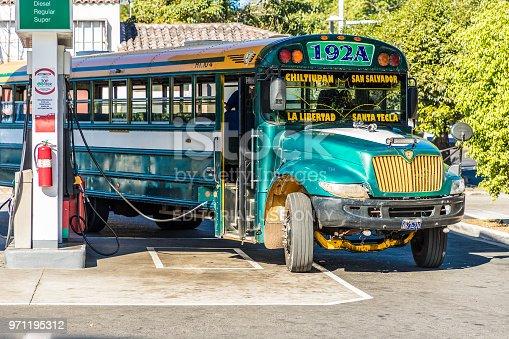 San salvador, El salvador. January 2018. A view of a traditional bus in a petrol station in San Salvador, El Salvador.