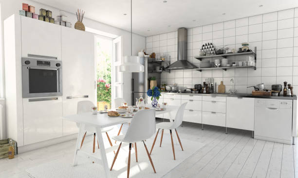 typical scandinavian kitchen interior - domestic kitchen stock photos and pictures