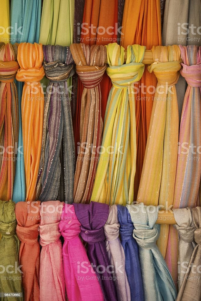 Typical scarves for sale at market in Madrid, Spain. royalty-free stock photo
