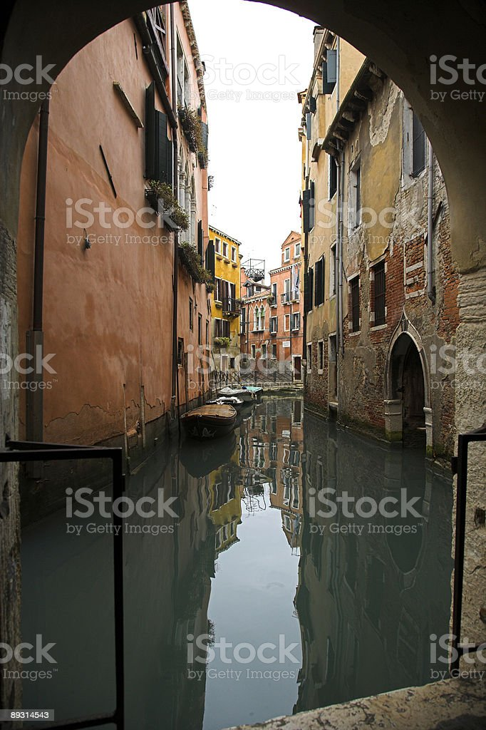 Typical scenery with small canal in Venice (XXL) royalty-free stock photo