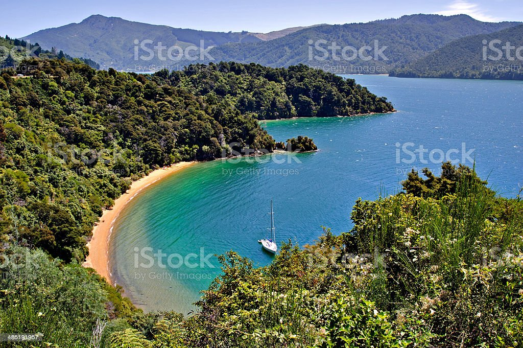 Typical scenic beach scene, Abel Tasman stock photo