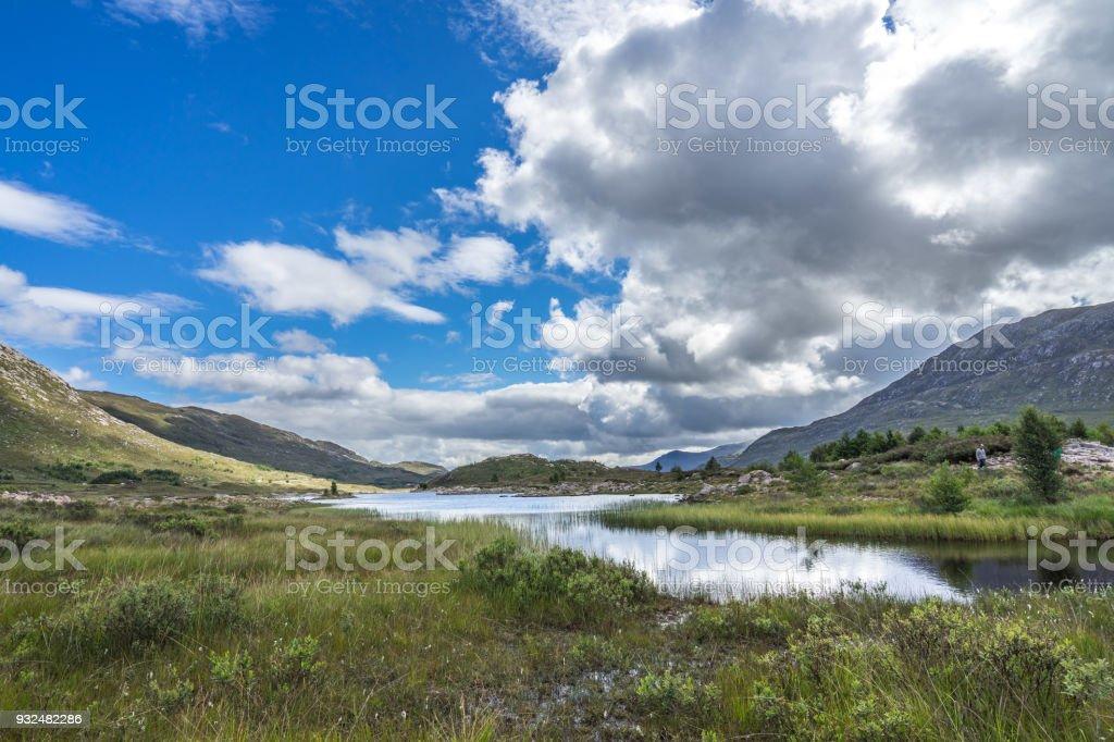 Typical scottish Highlands landscape in the summer, near Loch Cluanie, Scotland, Britain stock photo