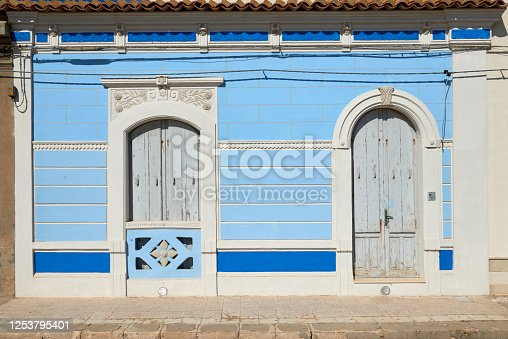 typical blue color of a house by the sea