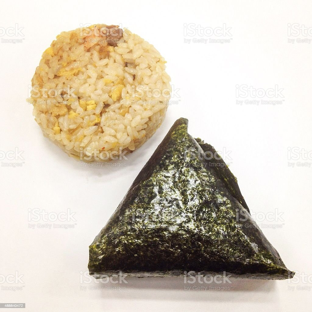 Typical shapes of Japanese rice ball stock photo