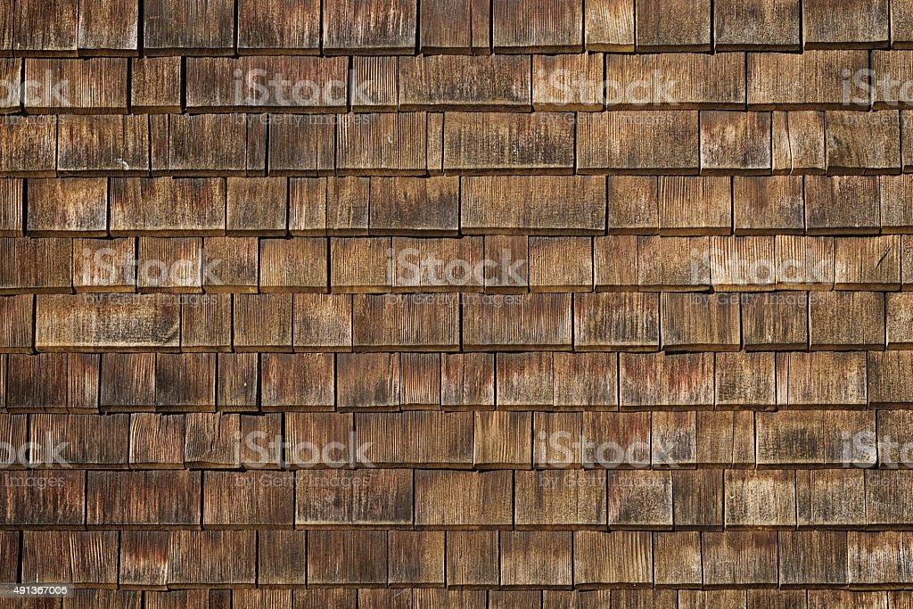 shingle en bois typiques de la façade de la construction arrière-plan - Photo