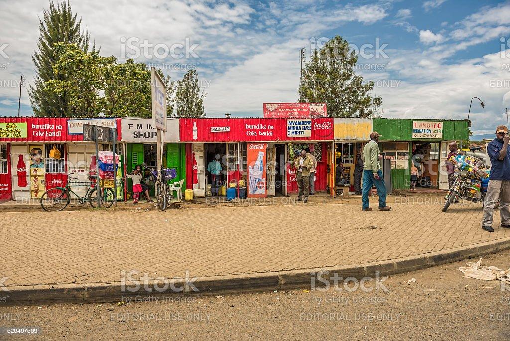 Typical shopping street scene, Naivasha, Kenya stock photo
