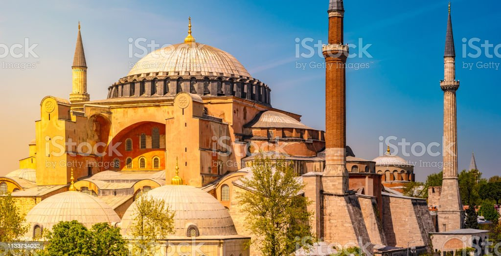 A typical shot of the Hagia Sophia with a pristine blue sky as its background. stock photo