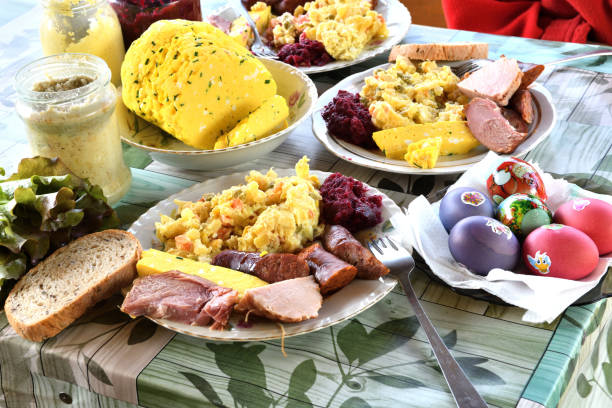 Typical Slovak Easter food, sacred cheese, ham, eggs, sausage and beetroot stock photo