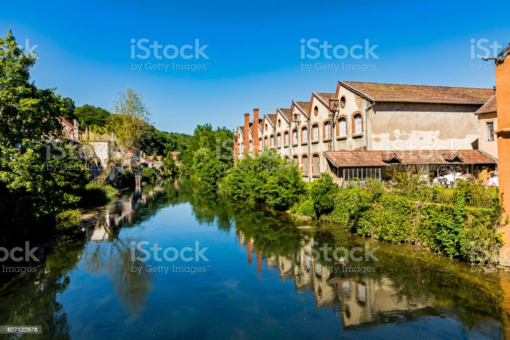 typical small village L-Isle-sur-le-Doubs in France stock photo