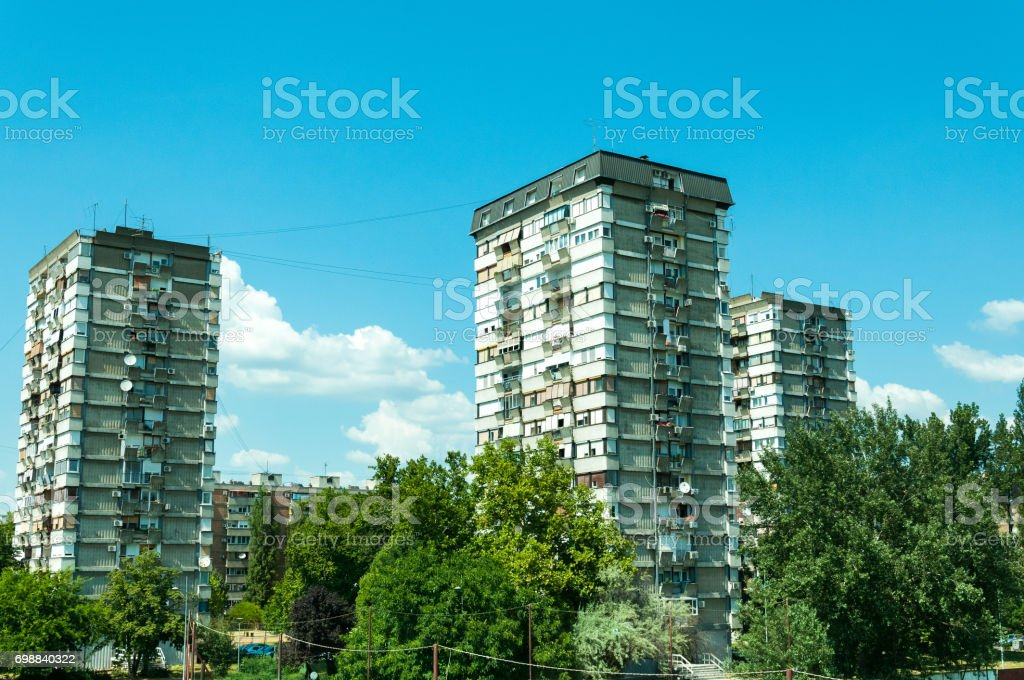 Typical socialist and communistic block of low quality buildings. Novi Sad, Serbia. stock photo