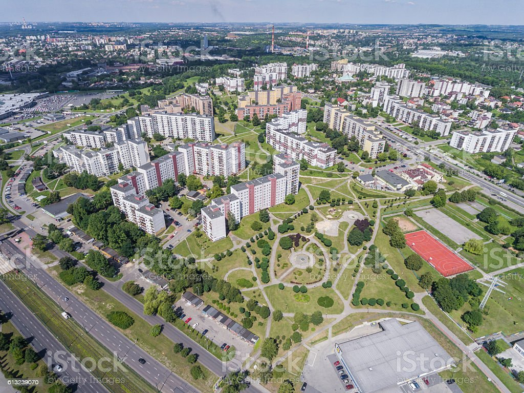 Typical socialist block of flats in Poland. East Europe. stock photo